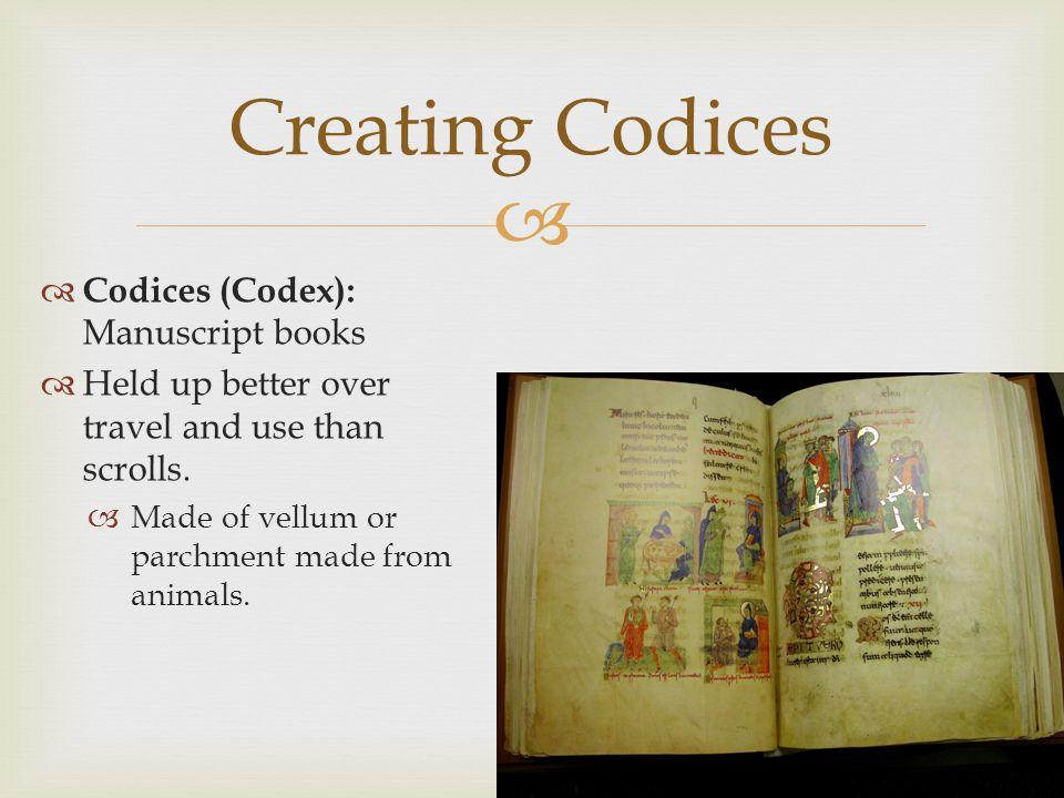 Creating Codices Codices (Codex): Manuscript books
