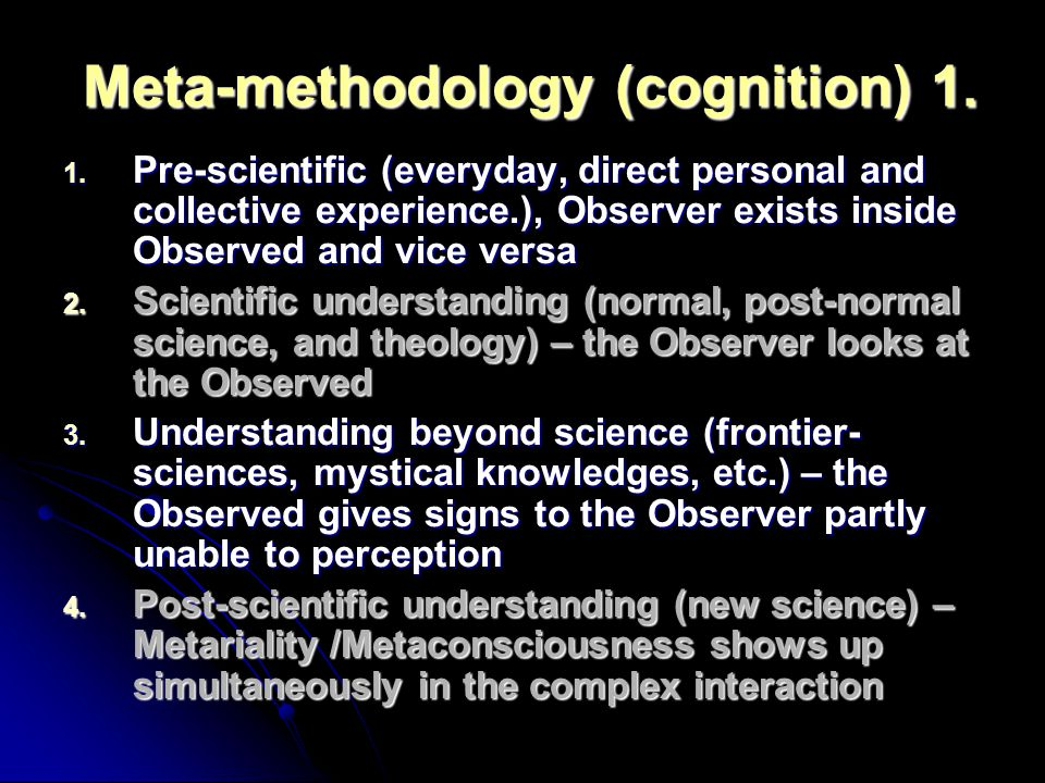 Meta-methodology (cognition) 1.