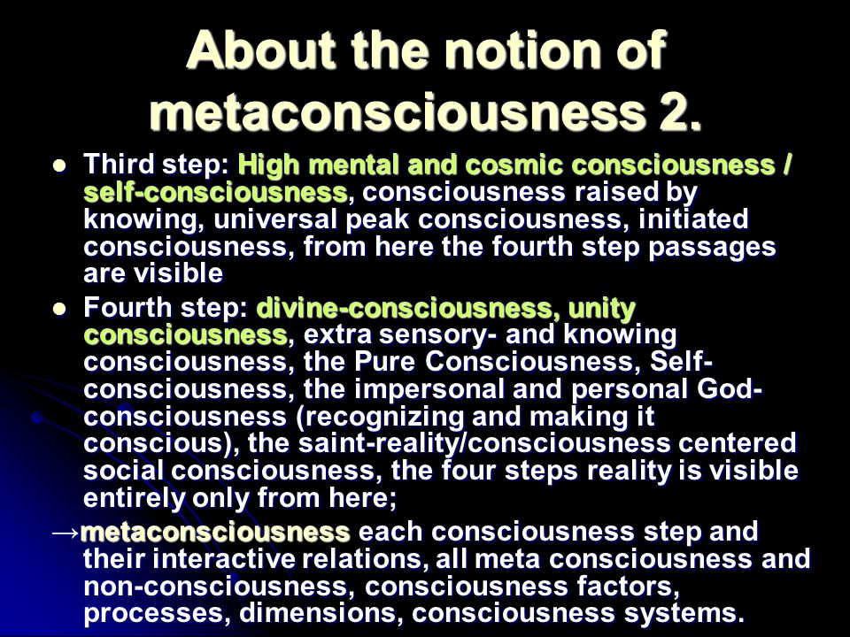 About the notion of metaconsciousness 2.