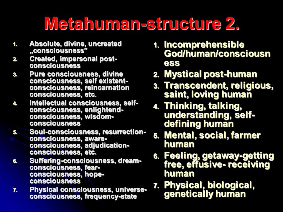 Metahuman-structure 2. Incomprehensible God/human/consciousness