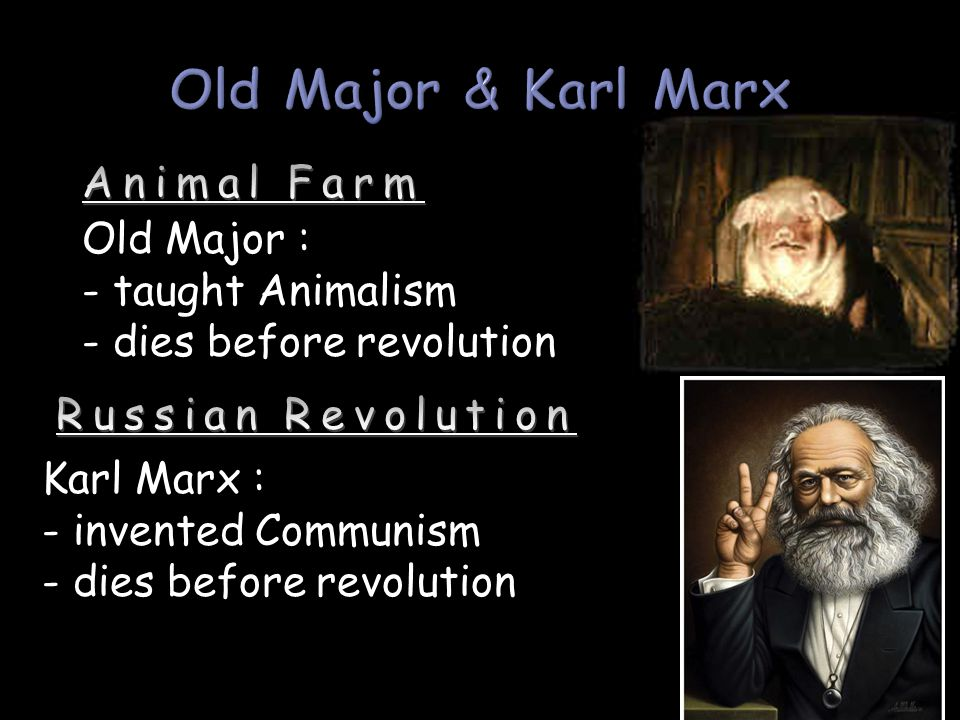 Old Major & Karl Marx Animal Farm Old Major : - taught Animalism