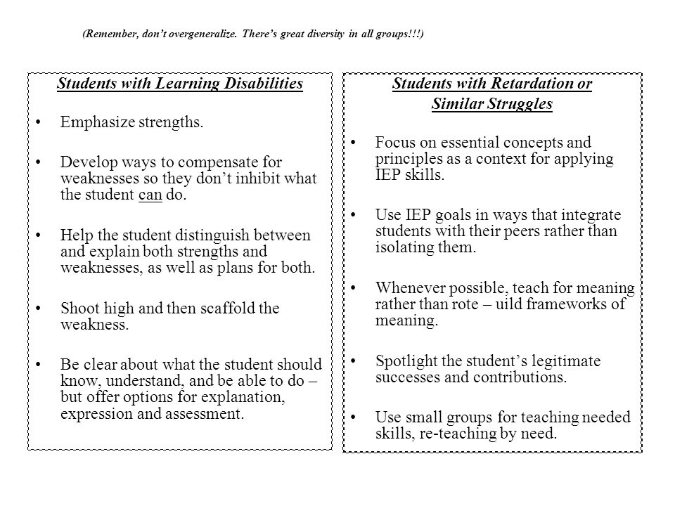 Students with Learning Disabilities Students with Retardation or