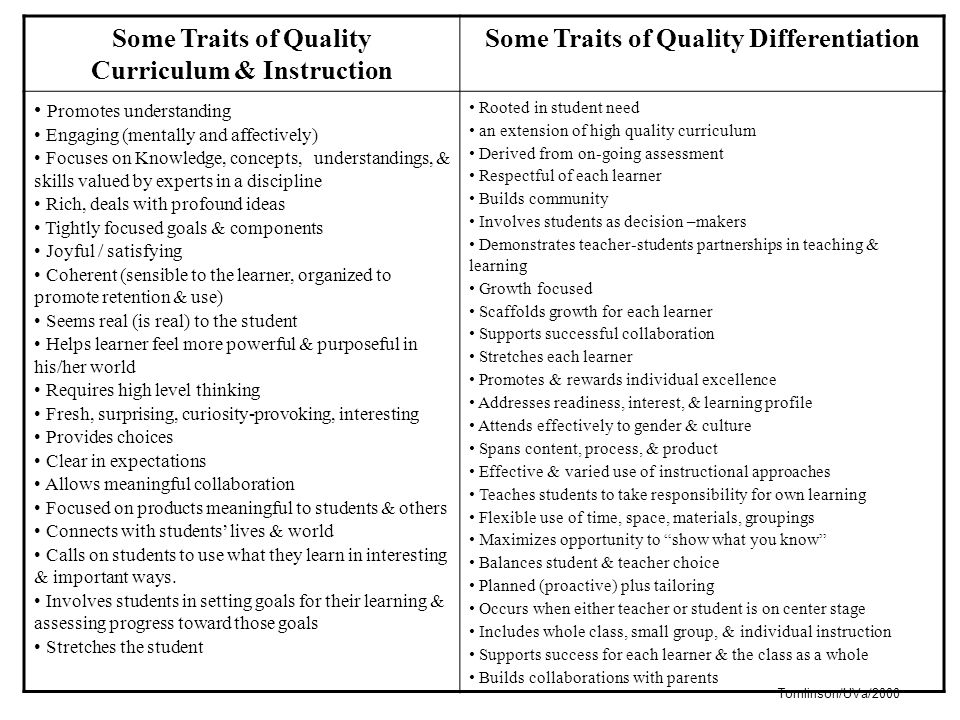 Curriculum & Instruction Some Traits of Quality Differentiation