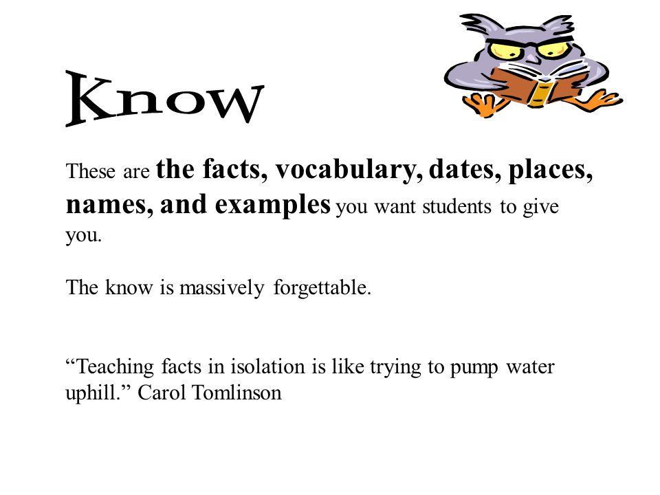 Know These are the facts, vocabulary, dates, places, names, and examples you want students to give.