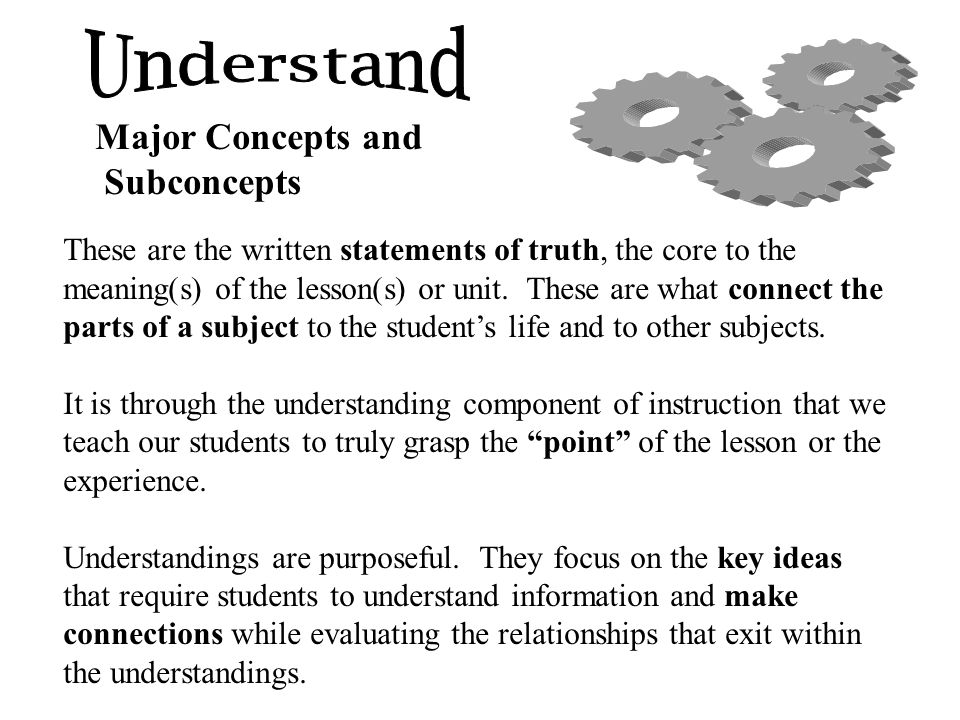 Understand Major Concepts and Subconcepts