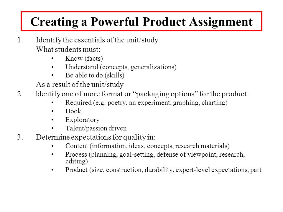 Creating a Powerful Product Assignment