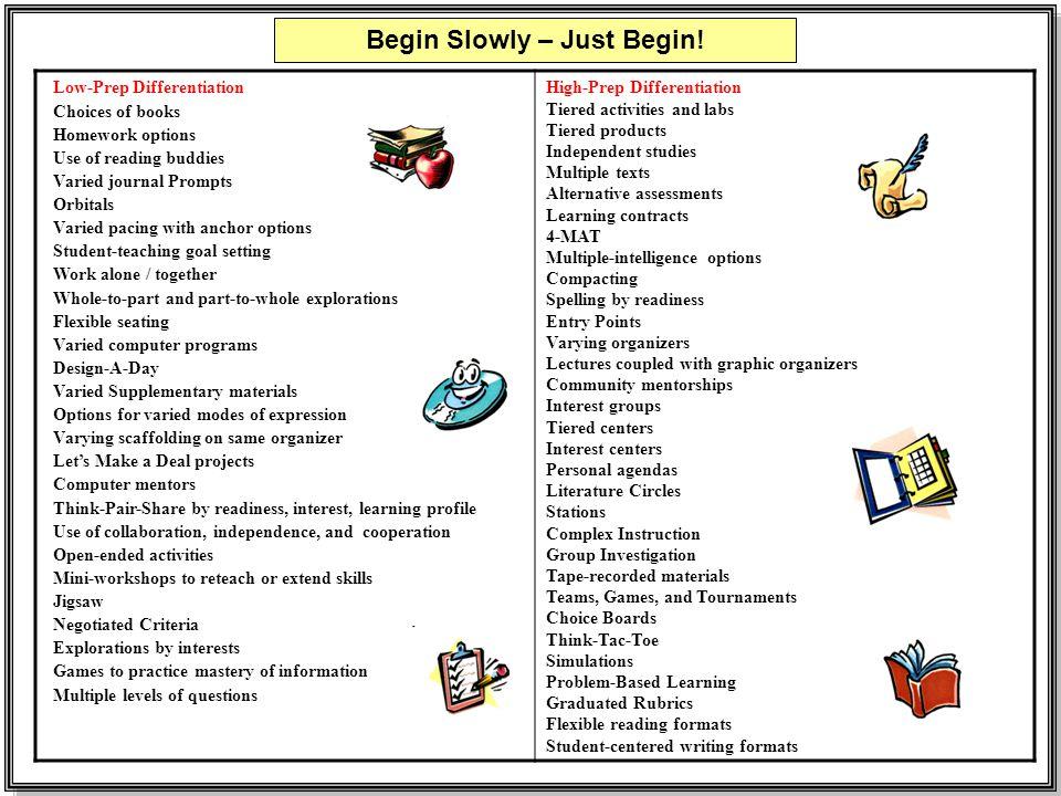 Begin Slowly – Just Begin!