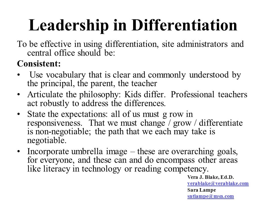 Leadership in Differentiation