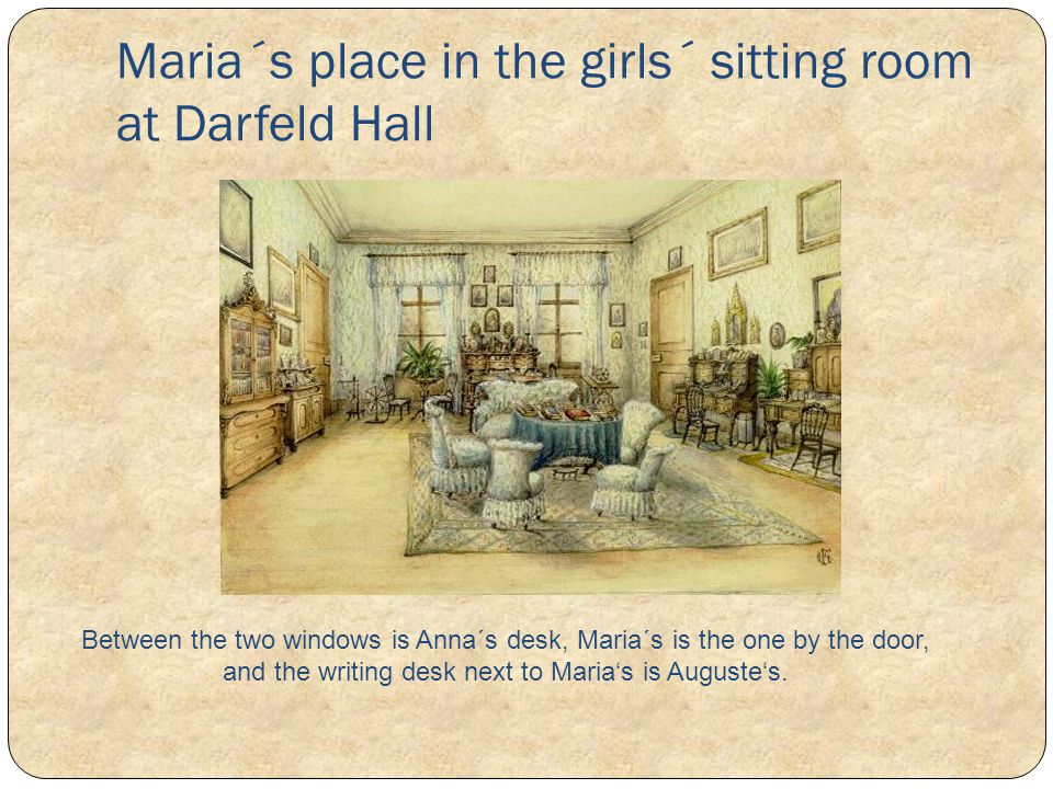 Maria´s place in the girls´ sitting room at Darfeld Hall