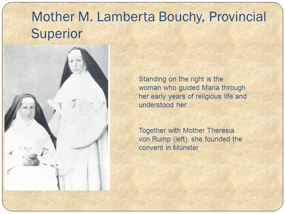 Mother M. Lamberta Bouchy, Provincial Superior