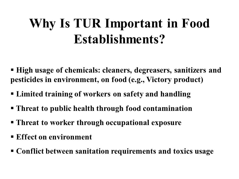 Why Is TUR Important in Food Establishments