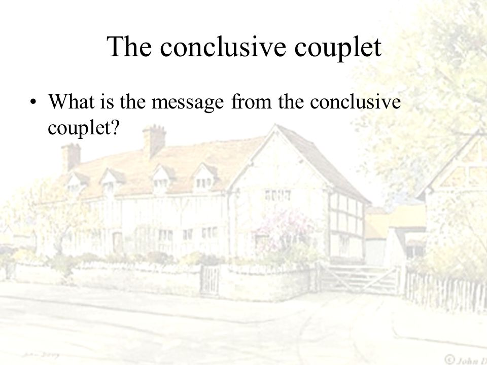The conclusive couplet
