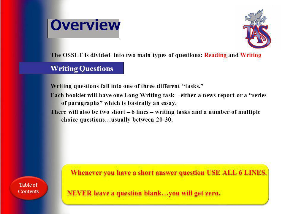 Overview Writing Questions