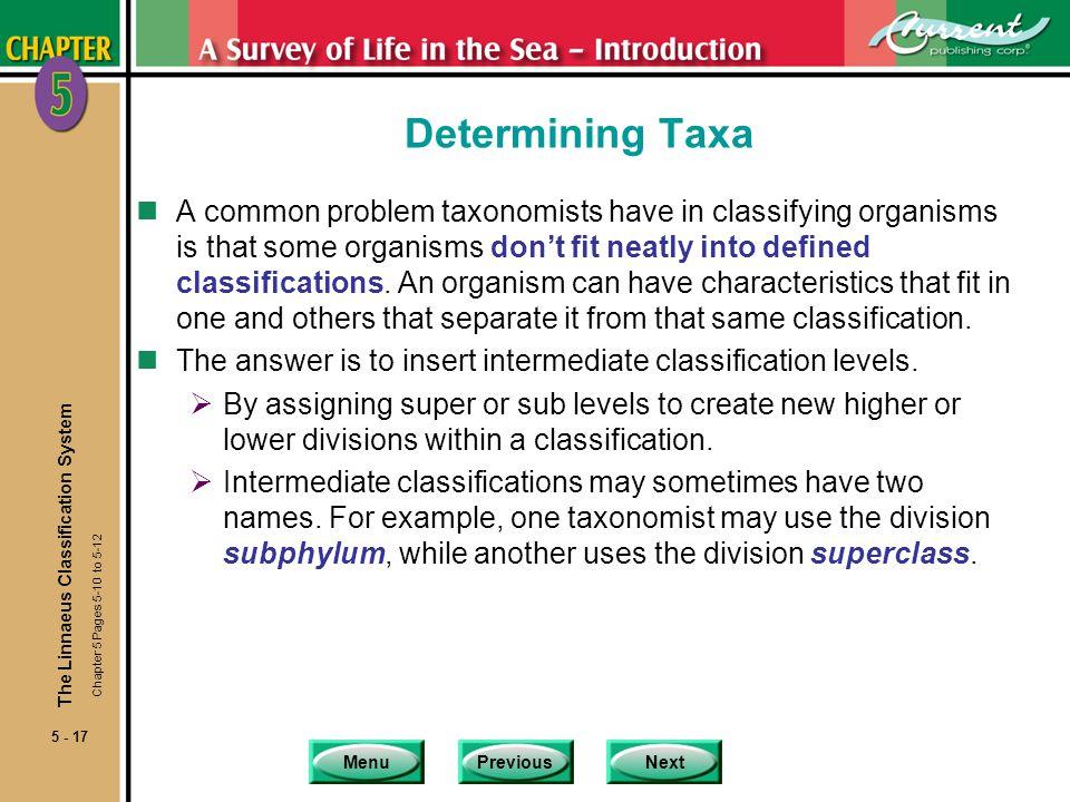 Determining Taxa