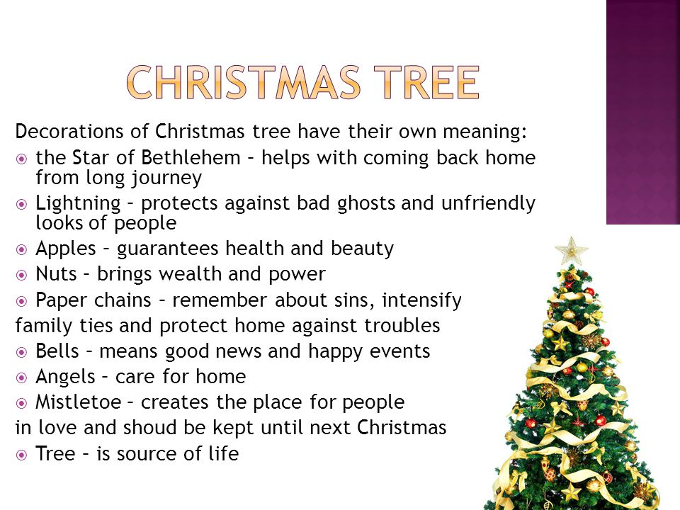 Christmas tree Decorations of Christmas tree have their own meaning: