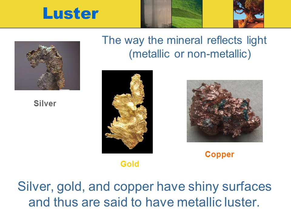 The way the mineral reflects light (metallic or non-metallic)