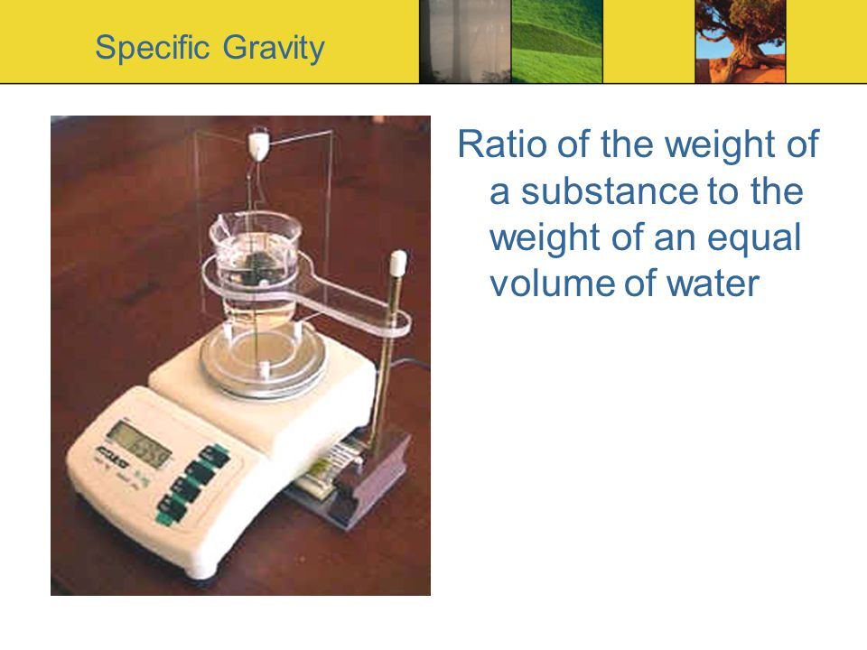 Specific Gravity Ratio of the weight of a substance to the weight of an equal volume of water