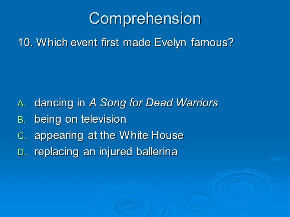 Comprehension 10. Which event first made Evelyn famous