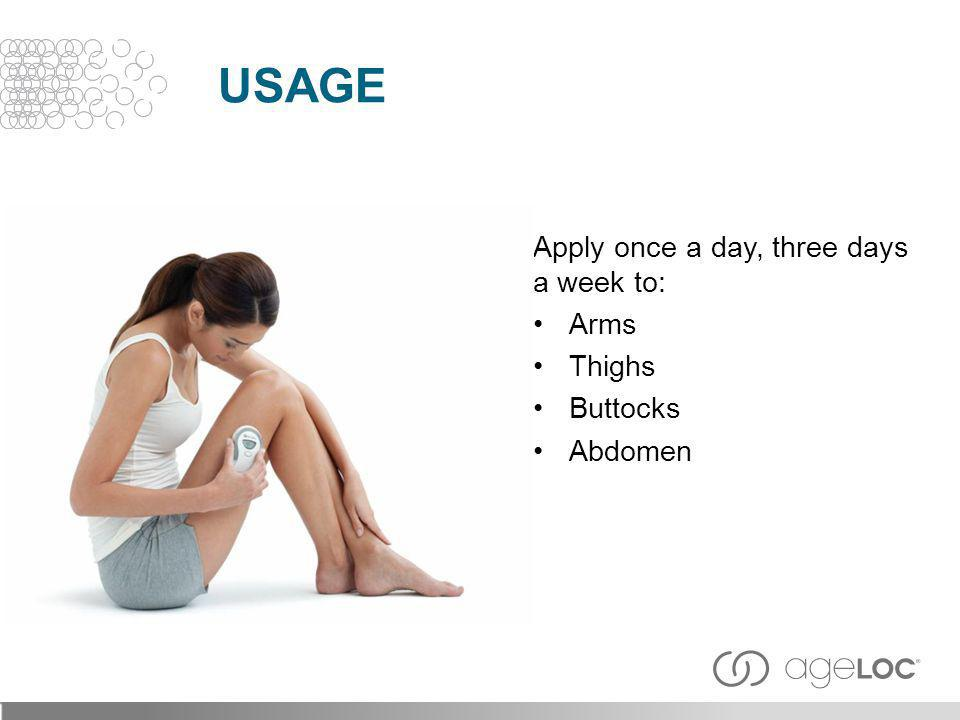 Usage Apply once a day, three days a week to: Arms Thighs Buttocks