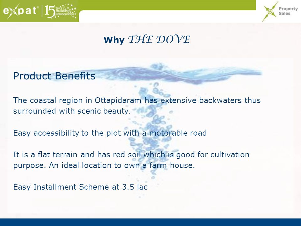 Product Benefits Why THE DOVE