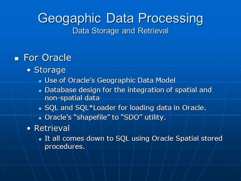Geogaphic Data Processing Data Storage and Retrieval
