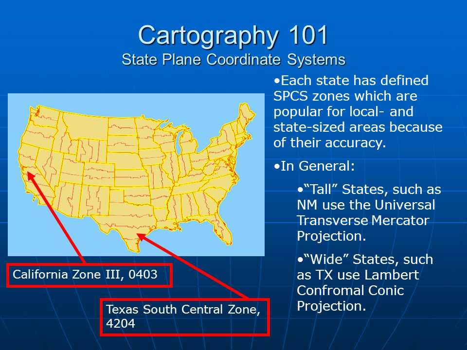 Cartography 101 State Plane Coordinate Systems