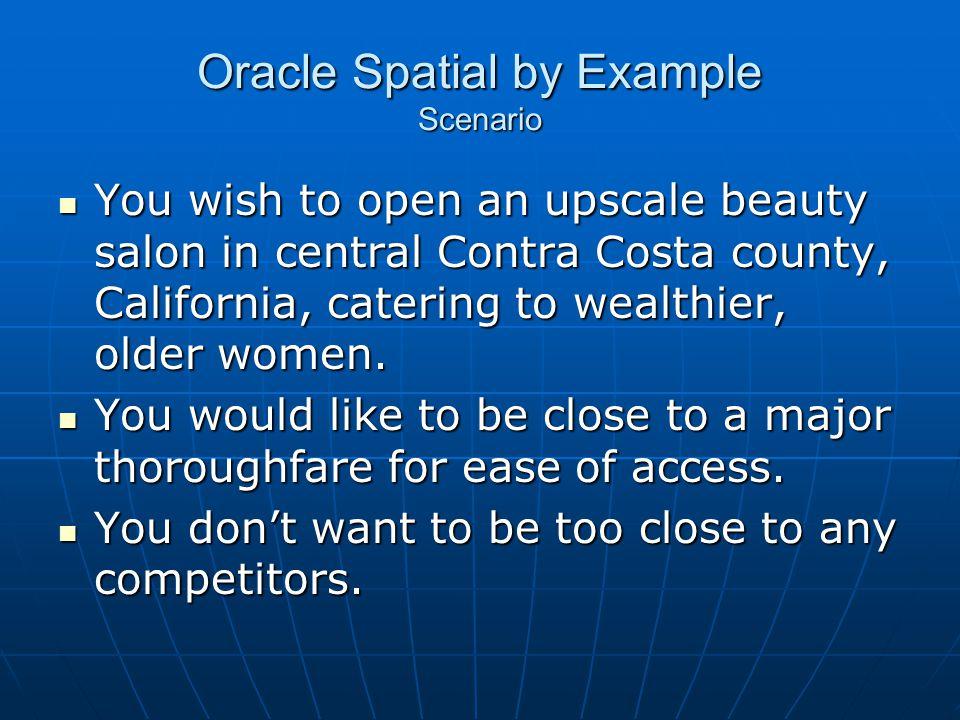 Oracle Spatial by Example Scenario