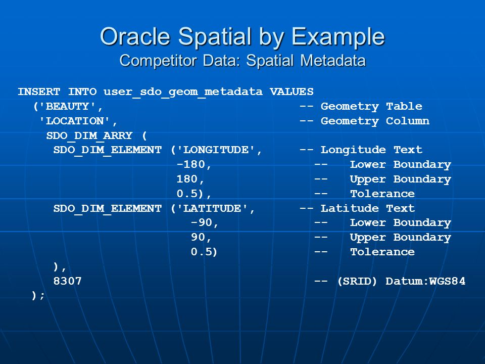 Oracle Spatial by Example Competitor Data: Spatial Metadata