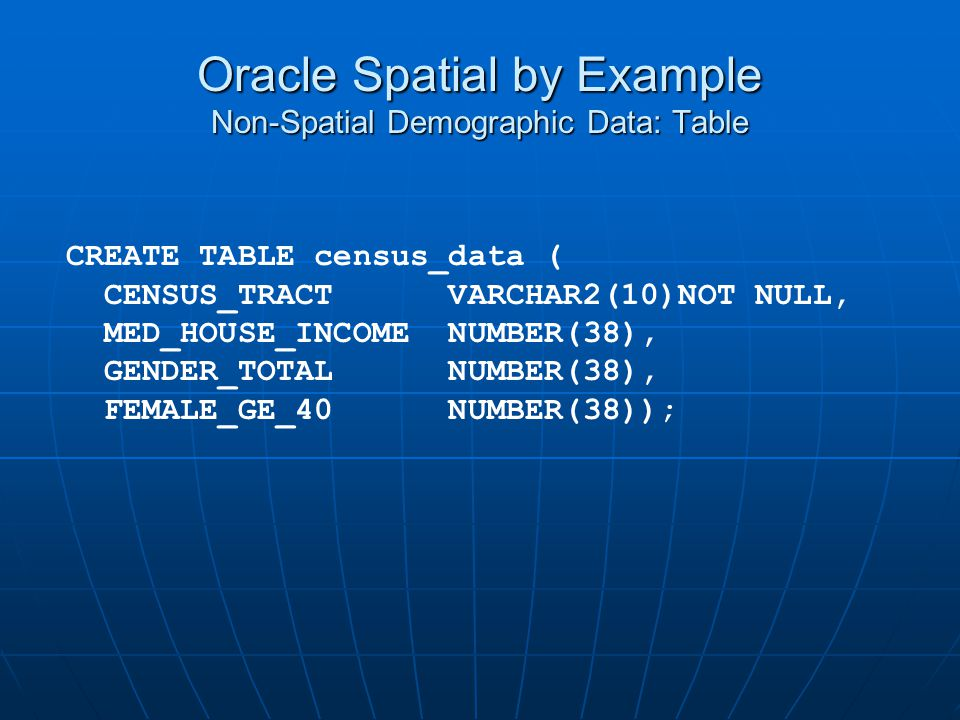 Oracle Spatial by Example Non-Spatial Demographic Data: Table