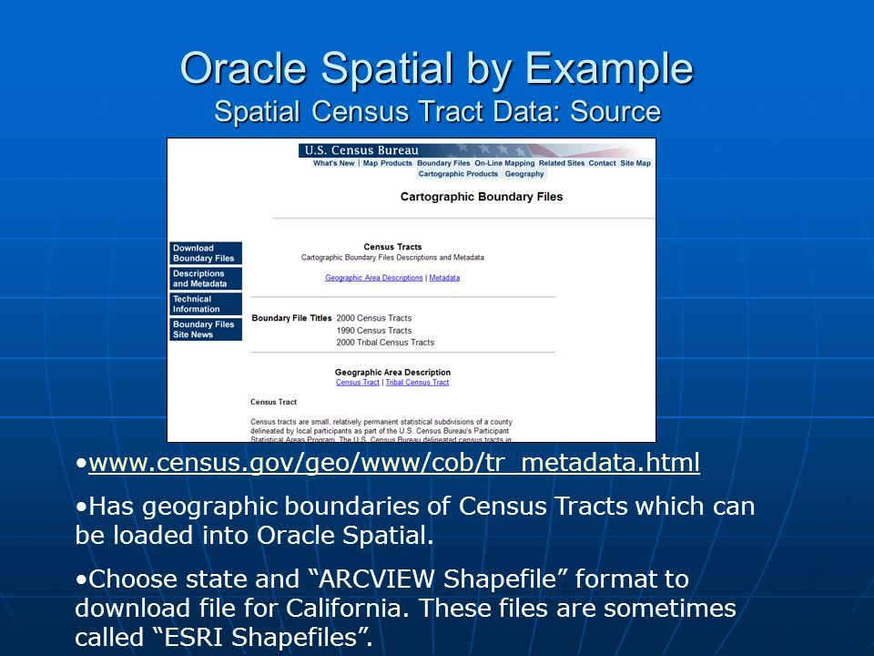 Oracle Spatial by Example Spatial Census Tract Data: Source