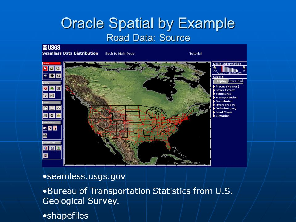 Oracle Spatial by Example Road Data: Source