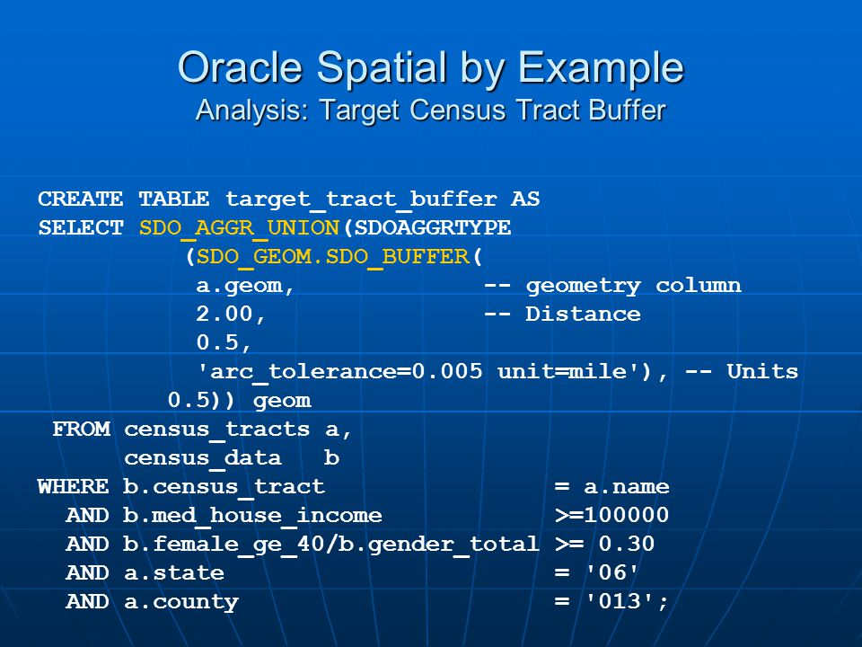 Oracle Spatial by Example Analysis: Target Census Tract Buffer