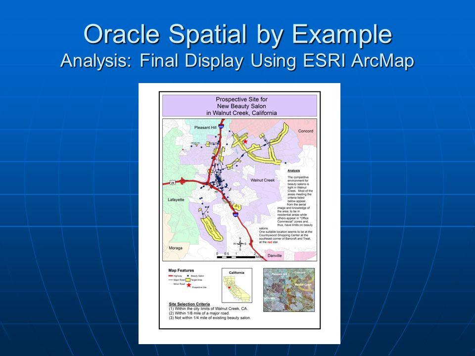 Oracle Spatial by Example Analysis: Final Display Using ESRI ArcMap