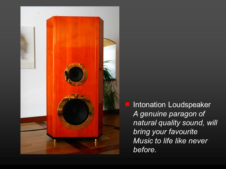 Intonation Loudspeaker A genuine paragon of natural quality sound, will bring your favourite Music to life like never before.