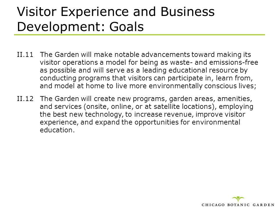 Visitor Experience and Business Development: Goals
