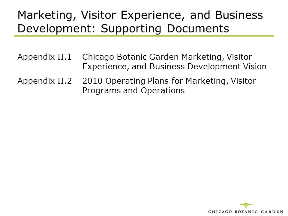 Marketing, Visitor Experience, and Business Development: Supporting Documents