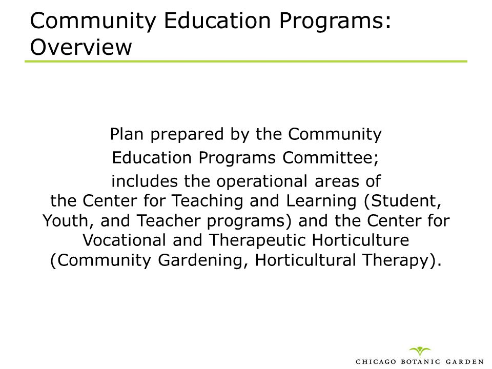 Community Education Programs: Overview