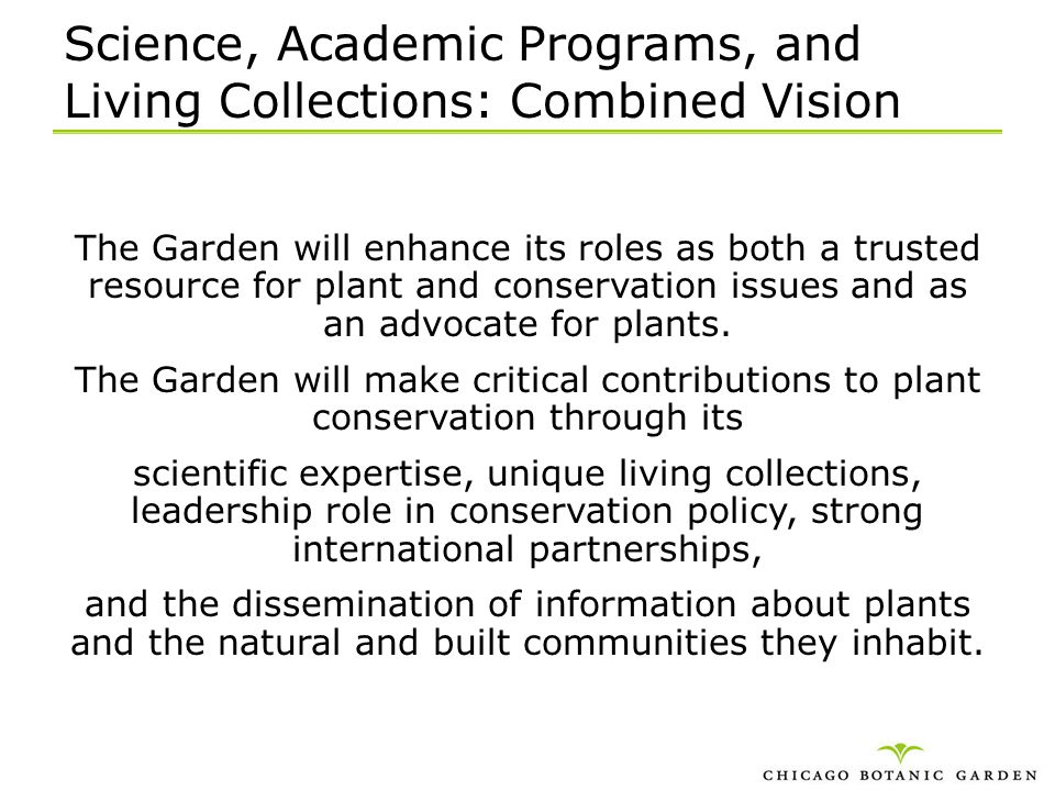 Science, Academic Programs, and Living Collections: Combined Vision