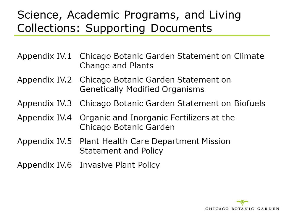 Science, Academic Programs, and Living Collections: Supporting Documents