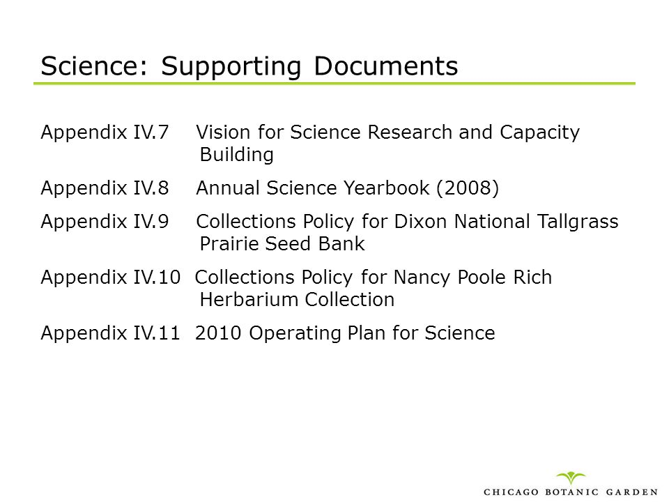 Science: Supporting Documents