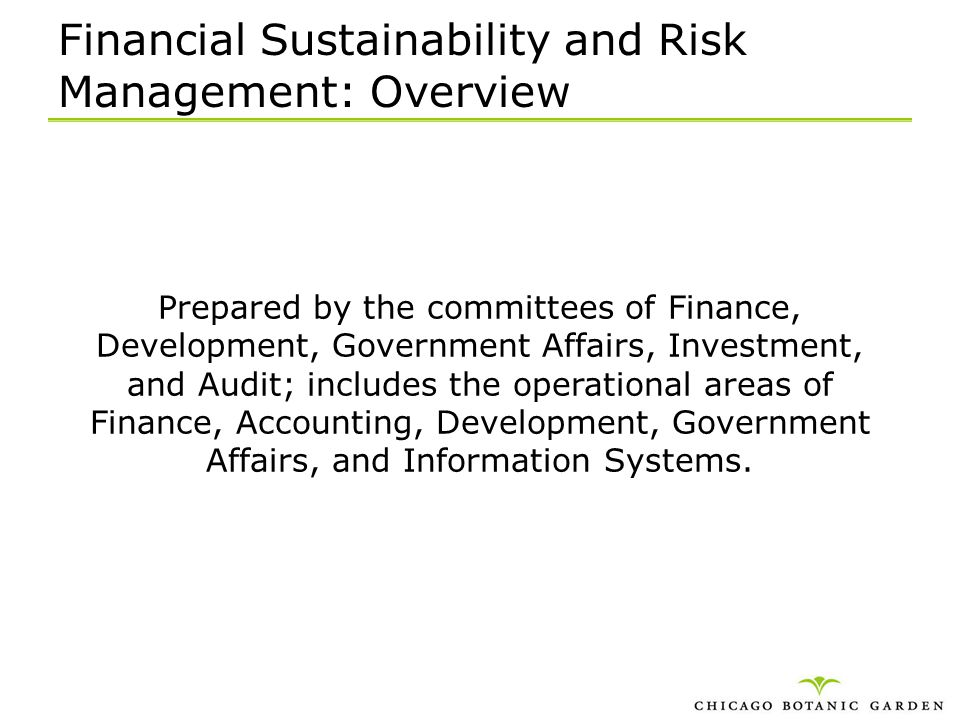 Financial Sustainability and Risk Management: Overview
