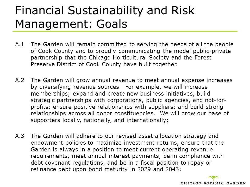 Financial Sustainability and Risk Management: Goals