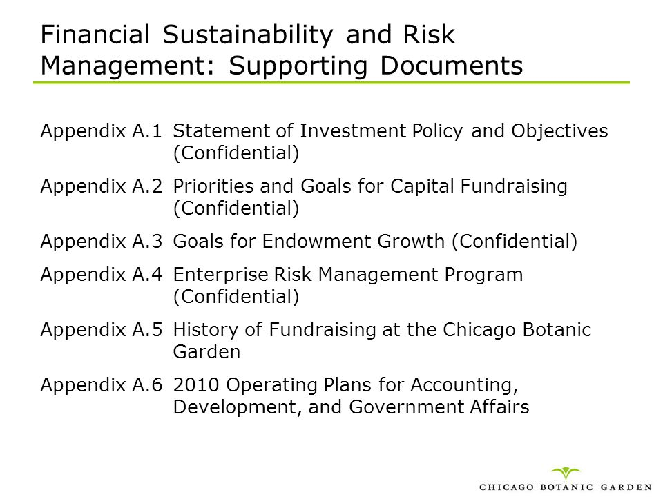 Financial Sustainability and Risk Management: Supporting Documents
