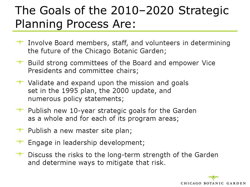 The Goals of the 2010–2020 Strategic Planning Process Are: