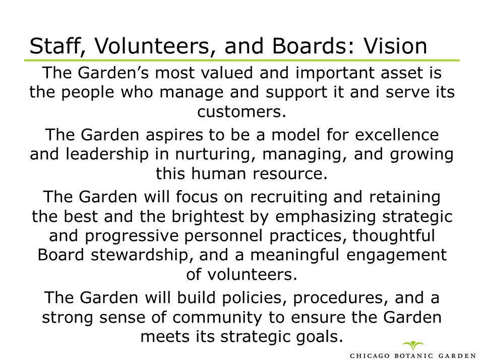 Staff, Volunteers, and Boards: Vision