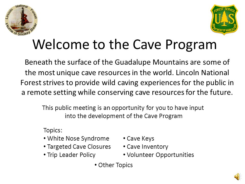 Welcome to the Cave Program