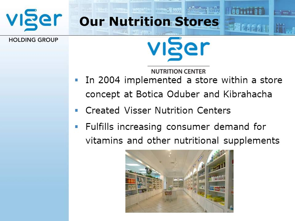 Our Nutrition Stores In 2004 implemented a store within a store concept at Botica Oduber and Kibrahacha.