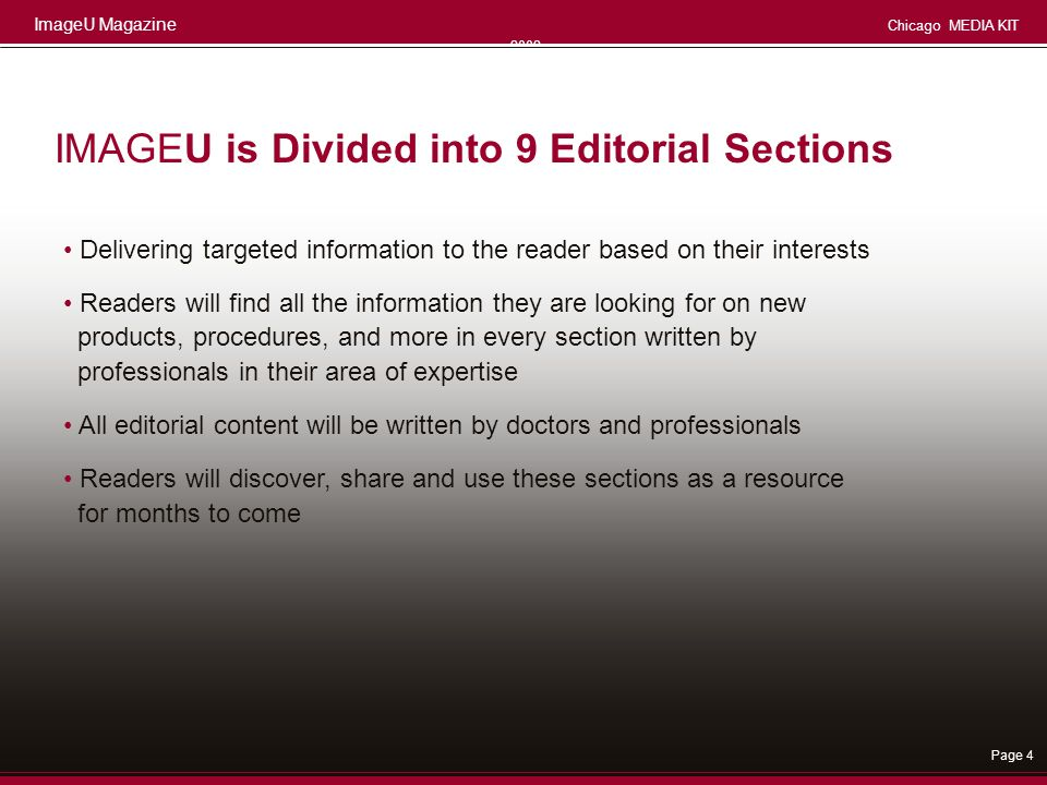 IMAGEU is Divided into 9 Editorial Sections