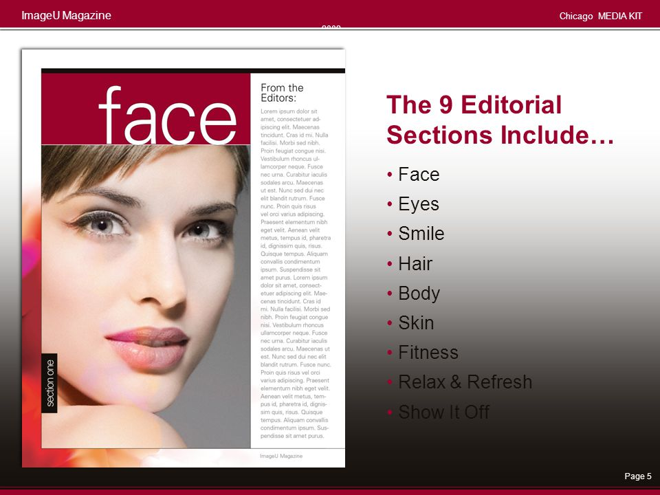 The 9 Editorial Sections Include… • Face • Eyes • Smile • Hair • Body