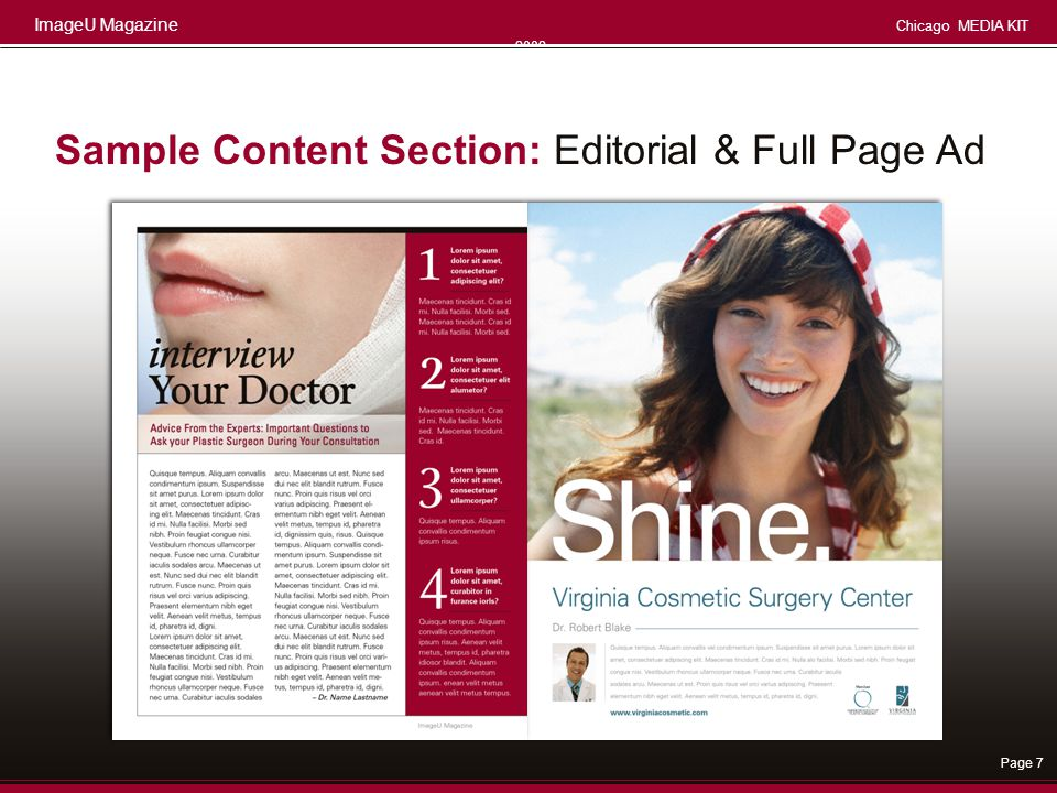 Sample Content Section: Editorial & Full Page Ad